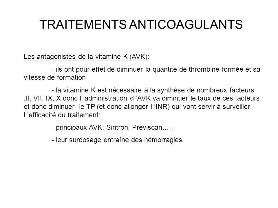 TRAITEMENTS ANTICOAGULANTS Les antagonistes de la vitamine K (AVK): - ils ont pour effet de diminuer la quantité de thrombine formée et sa vitesse de