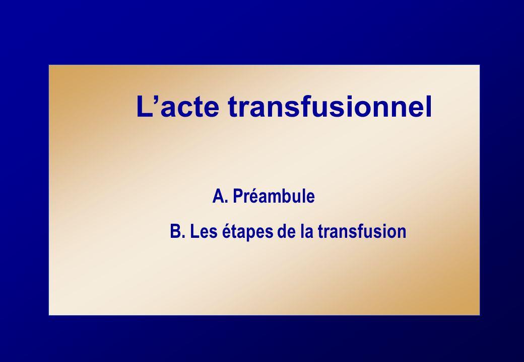 Lacte transfusionnel A. Préambule B. Les étapes de la transfusion