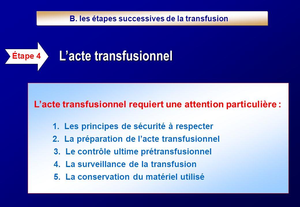 Lacte transfusionnel requiert une attention particulière : 1. Les principes de sécurité à respecter 2. La préparation de lacte transfusionnel 3. Le co