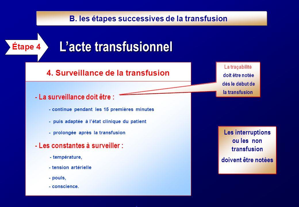 - La surveillance doit être : - continue pendant les 15 premières minutes - puis adaptée à létat clinique du patient - prolongée après la transfusion