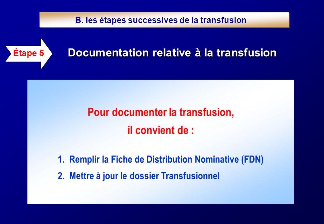 Étape 5 Documentation relative à la transfusion Pour documenter la transfusion, il convient de : 1. Remplir la Fiche de Distribution Nominative (FDN)