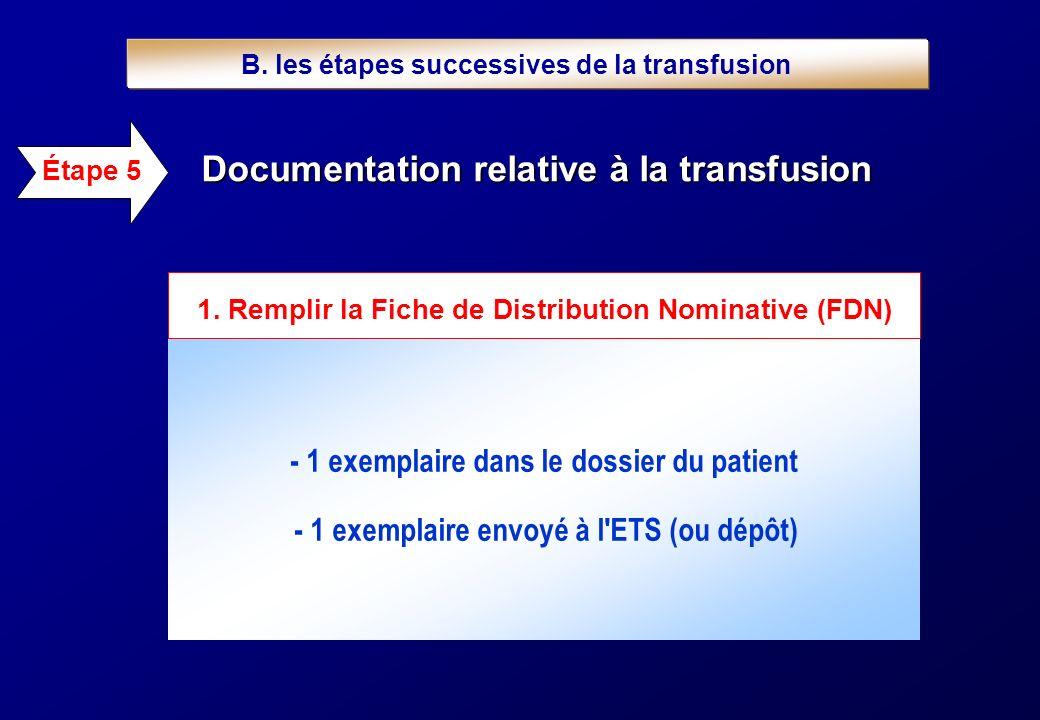 Documentation relative à la transfusion - 1 exemplaire dans le dossier du patient - 1 exemplaire envoyé à l'ETS (ou dépôt) Étape 5 1. Remplir la Fiche