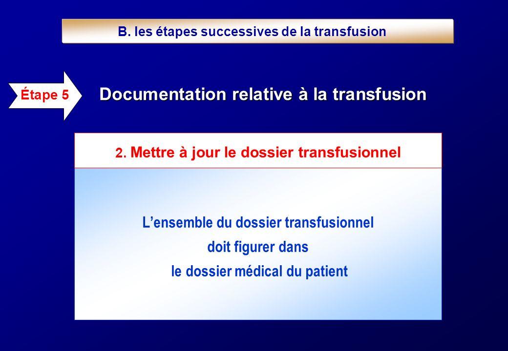 Lensemble du dossier transfusionnel doit figurer dans le dossier médical du patient Documentation relative à la transfusion Étape 5 2. Mettre à jour l