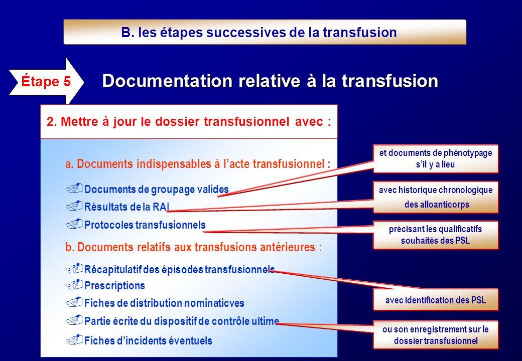 a. Documents indispensables à lacte transfusionnel :.. Documents de groupage valides.. Résultats de la RAI.. Protocoles transfusionnels b. Documents r