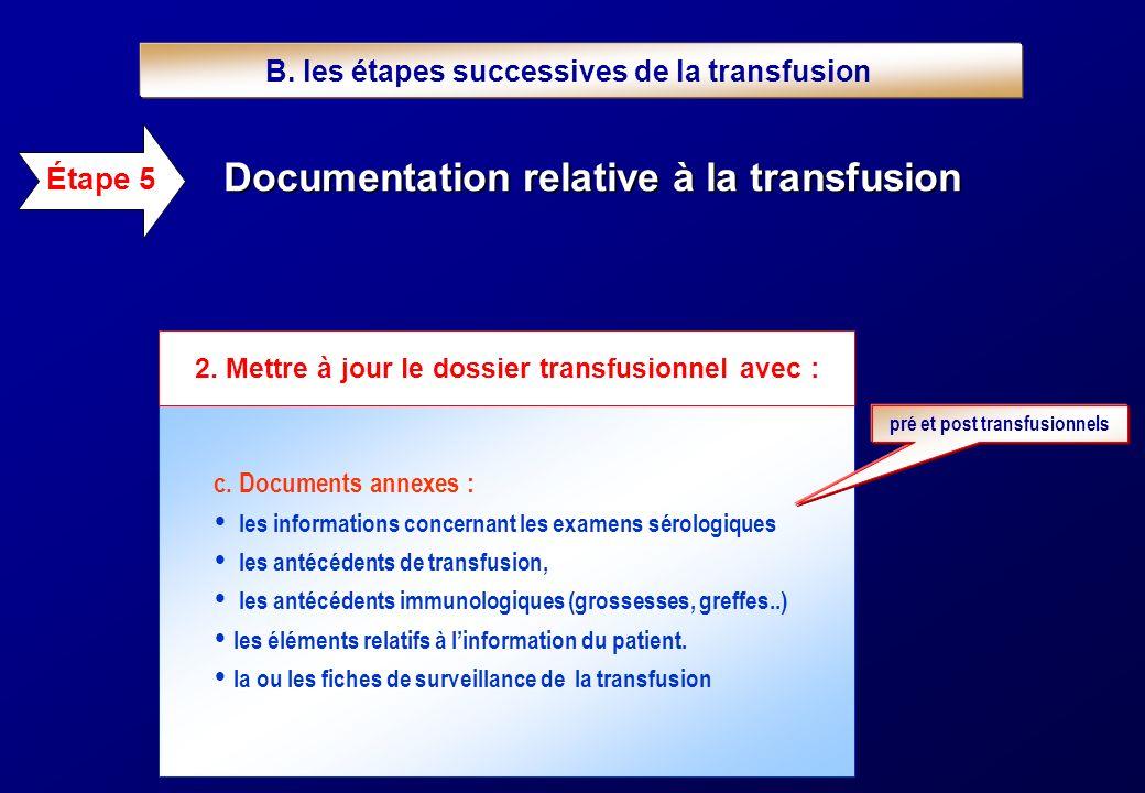 c. Documents annexes : les informations concernant les examens sérologiques les antécédents de transfusion, les antécédents immunologiques (grossesses