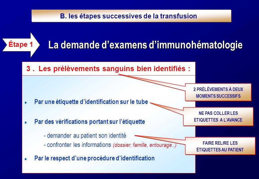 Documentation relative à la transfusion - 1 exemplaire dans le dossier du patient - 1 exemplaire envoyé à l ETS (ou dépôt) Étape 5 1.