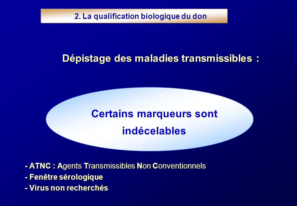 2. La qualification biologique du don Certains marqueurs sont indécelables - ATNC : Agents Transmissibles Non Conventionnels - Fenêtre sérologique - V