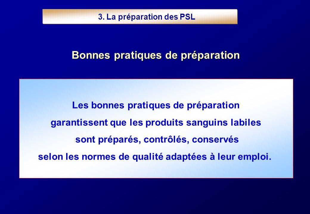 3. La préparation des PSL Les bonnes pratiques de préparation garantissent que les produits sanguins labiles sont préparés, contrôlés, conservés selon