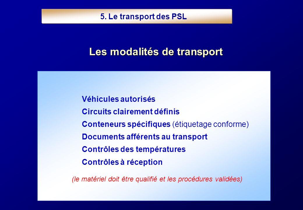 5. Le transport des PSL Véhicules autorisés Circuits clairement définis Conteneurs spécifiques (étiquetage conforme) Documents afférents au transport