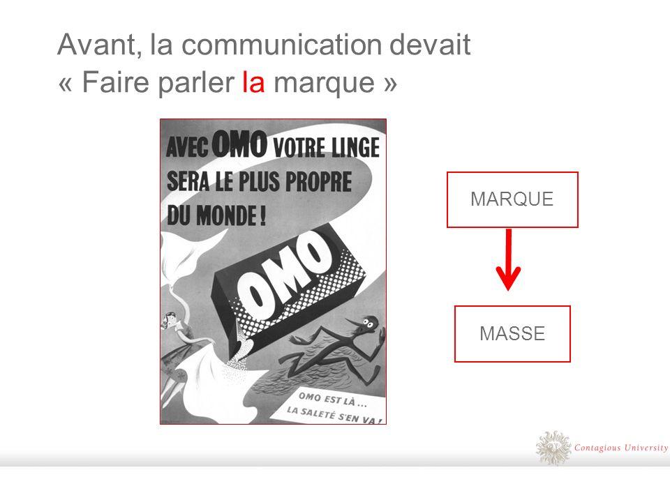Avant, la communication devait « Faire parler la marque » MARQUE MASSE