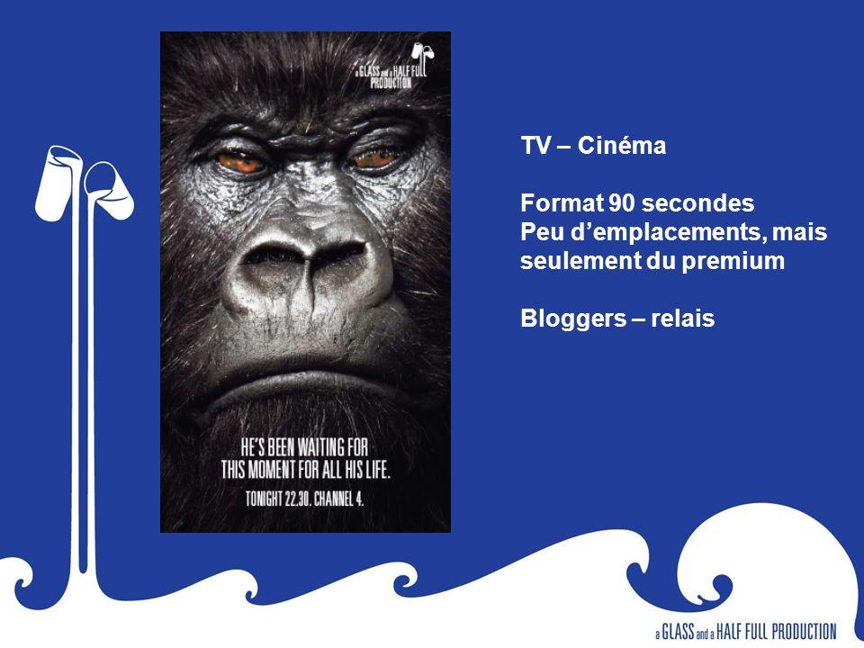 TV – Cinéma Format 90 secondes Peu demplacements, mais seulement du premium Bloggers – relais