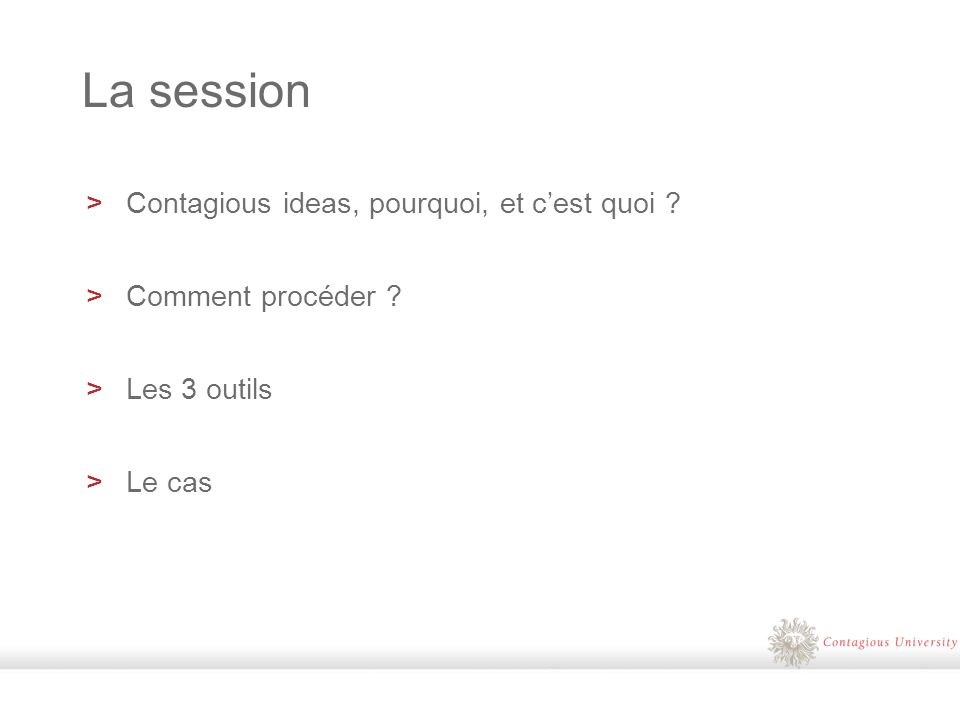 LE DETONATEUR CONVERSATION LEADER POINT DE VUE ACTIONS LE CADRE CONTAGIOUS IDEA LA PLACE