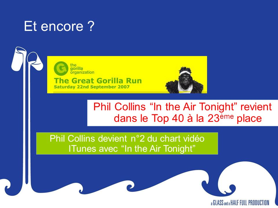 Phil Collins In the Air Tonight revient dans le Top 40 à la 23 ème place Phil Collins devient n°2 du chart vidéo ITunes avec In the Air Tonight Et enc