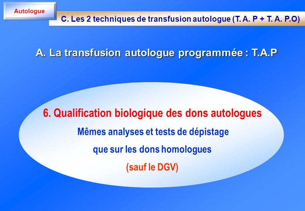 6. Qualification biologique des dons autologues Mêmes analyses et tests de dépistage que sur les dons homologues (sauf le DGV) A. La transfusion autol