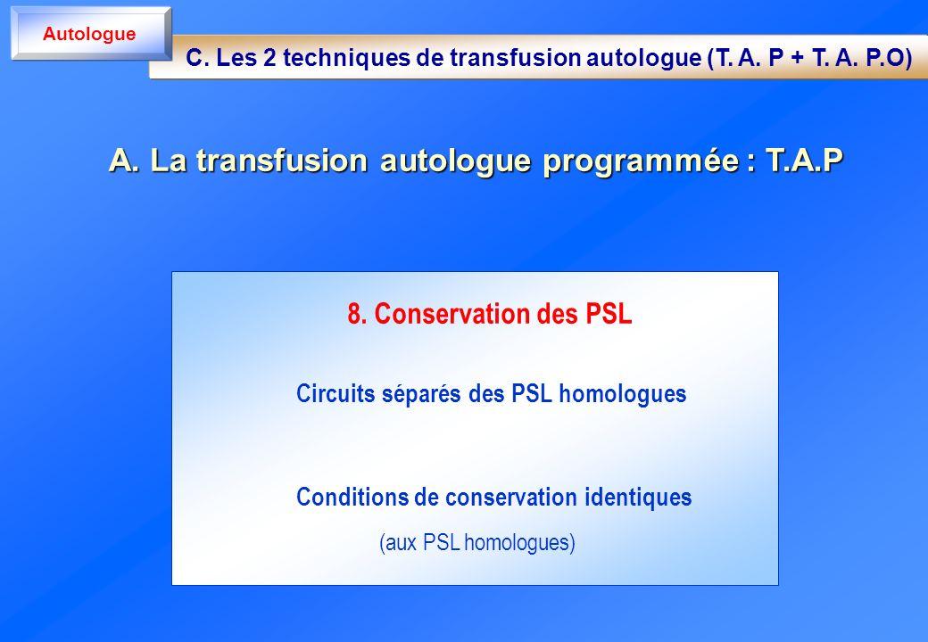 8. Conservation des PSL Circuits séparés des PSL homologues Conditions de conservation identiques (aux PSL homologues) A. La transfusion autologue pro