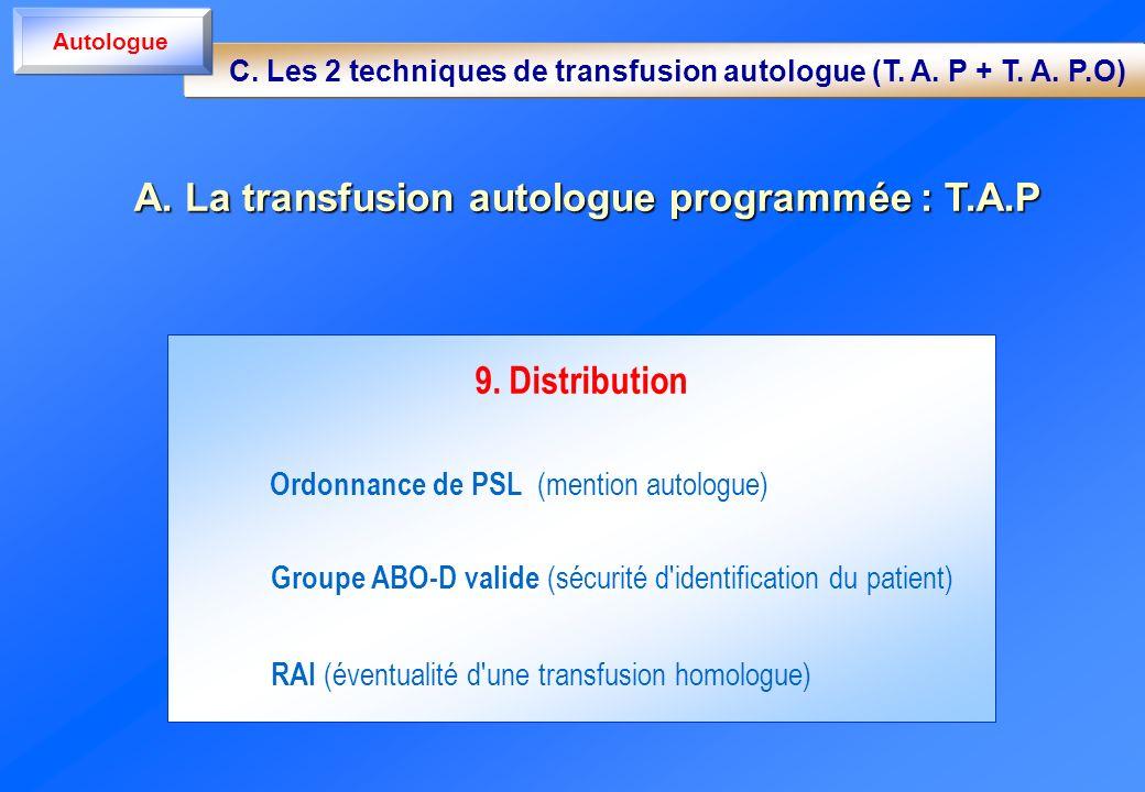 9. Distribution Ordonnance de PSL (mention autologue) Groupe ABO-D valide (sécurité d'identification du patient) RAI (éventualité d'une transfusion ho