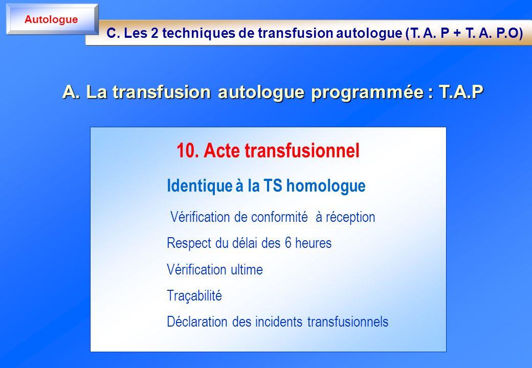 10. Acte transfusionnel Identique à la TS homologue Vérification de conformité à réception Respect du délai des 6 heures Vérification ultime Traçabili