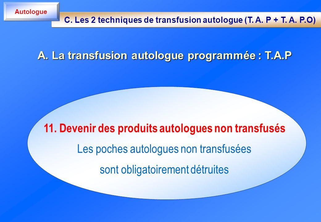 11. Devenir des produits autologues non transfusés Les poches autologues non transfusées sont obligatoirement détruites A. La transfusion autologue pr