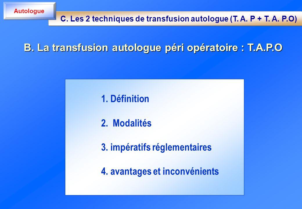 1. Définition 2. Modalités 3. impératifs réglementaires 4. avantages et inconvénients B. La transfusion autologue péri opératoire : T.A.P.O C. Les 2 t