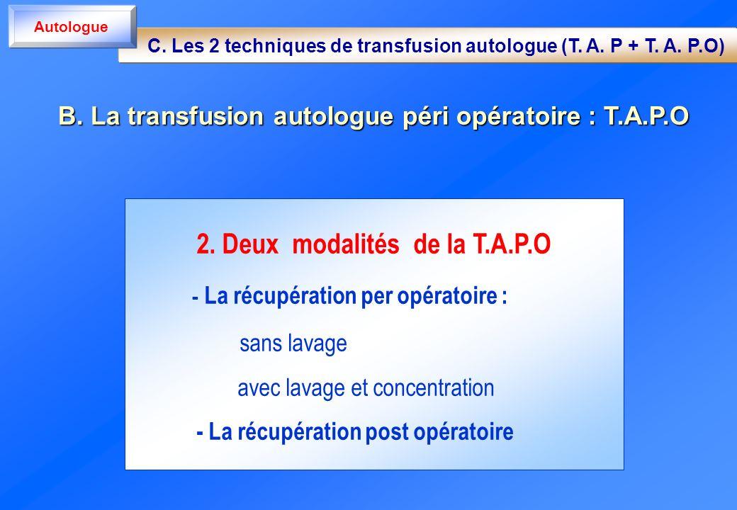 2. Deux modalités de la T.A.P.O - La récupération per opératoire : sans lavage avec lavage et concentration - La récupération post opératoire C. Les 2