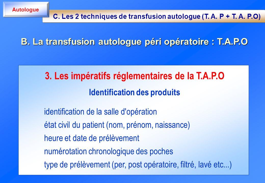 3. Les impératifs réglementaires de la T.A.P.O Identification des produits identification de la salle d'opération état civil du patient (nom, prénom,