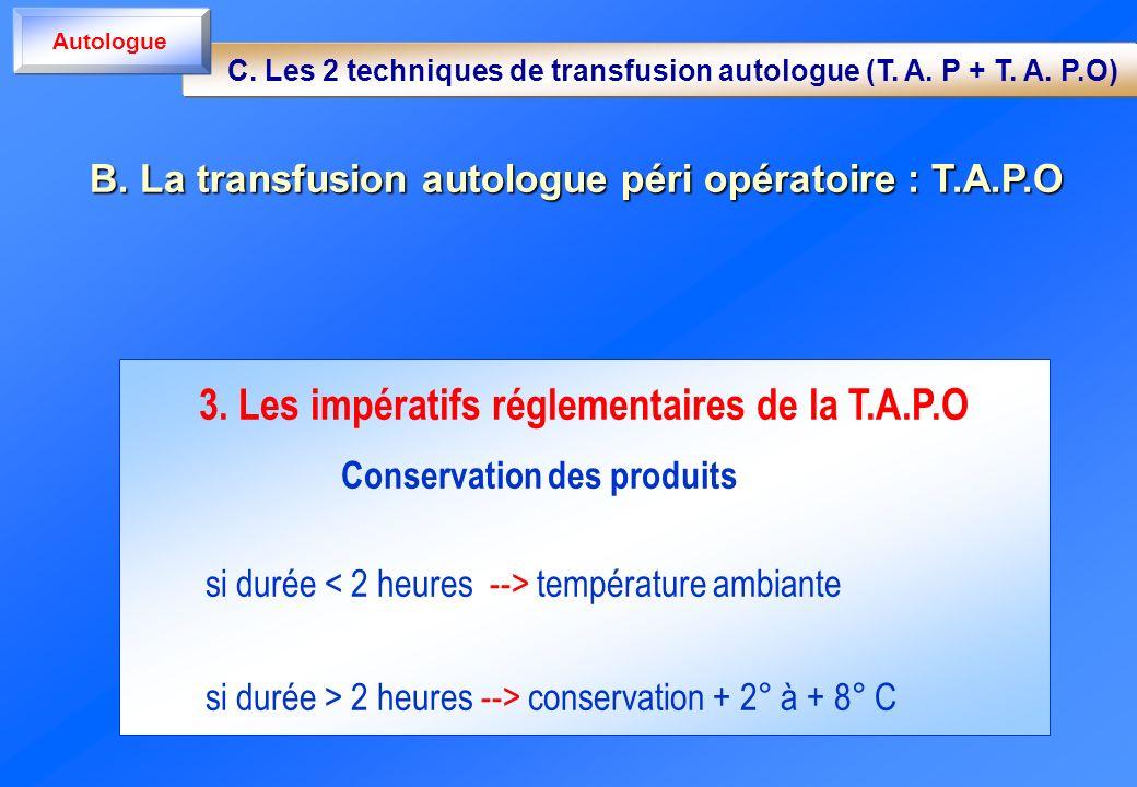 3. Les impératifs réglementaires de la T.A.P.O Conservation des produits si durée température ambiante si durée > 2 heures --> conservation + 2° à + 8