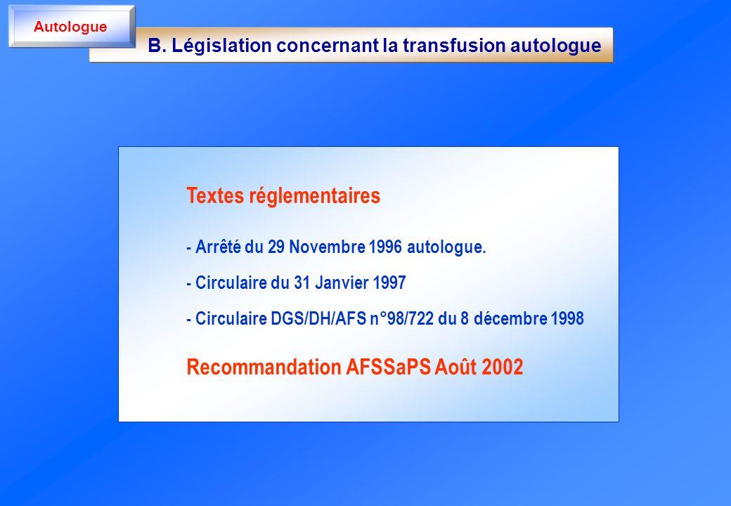 B. Législation concernant la transfusion autologue Autologue Textes réglementaires - Arrêté du 29 Novembre 1996 autologue. - Circulaire du 31 Janvier