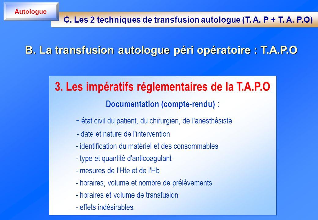 3. Les impératifs réglementaires de la T.A.P.O Documentation (compte-rendu) : - état civil du patient, du chirurgien, de l'anesthésiste - date et natu