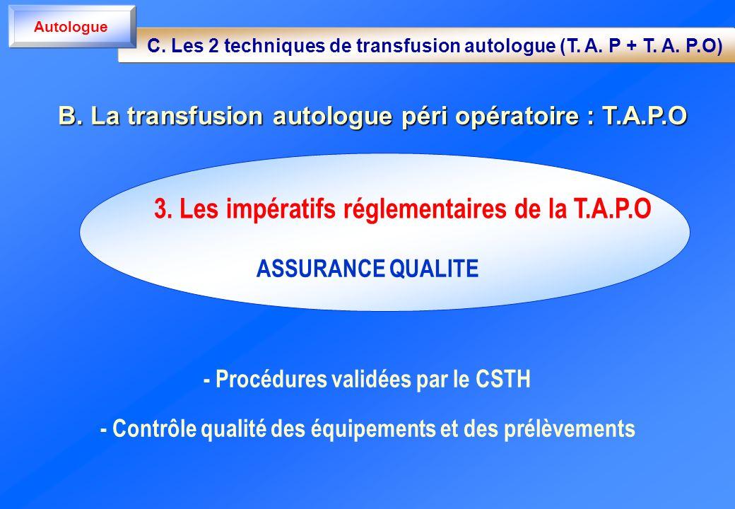 ASSURANCE QUALITE - Procédures validées par le CSTH - Contrôle qualité des équipements et des prélèvements 3. Les impératifs réglementaires de la T.A.