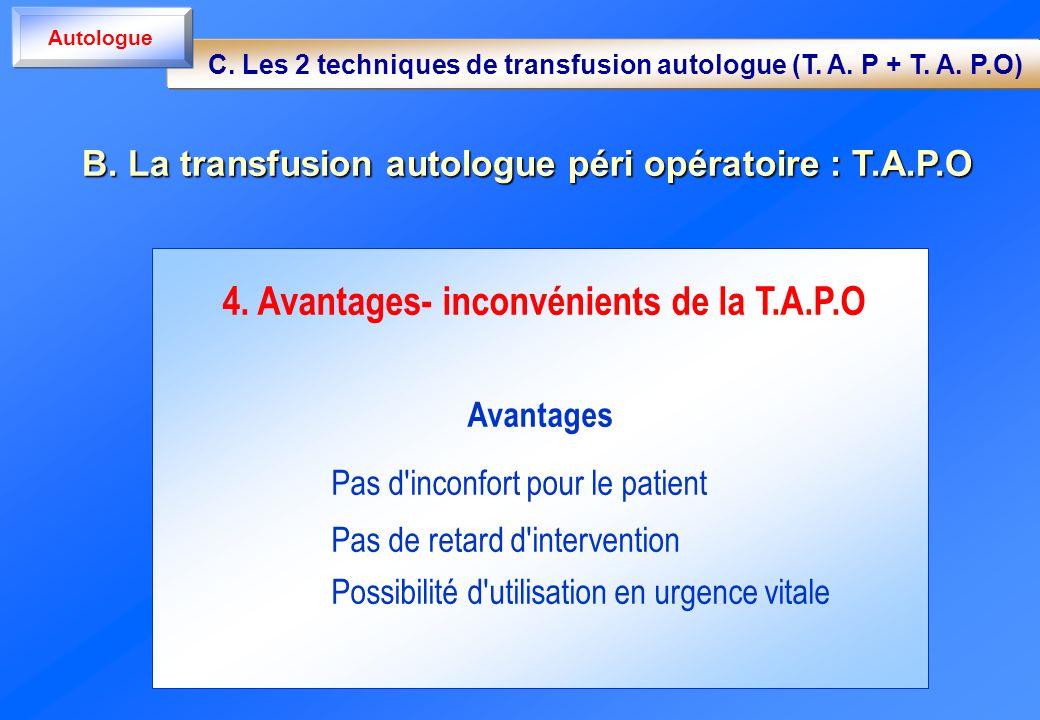 4. Avantages- inconvénients de la T.A.P.O Avantages Pas d'inconfort pour le patient Pas de retard d'intervention Possibilité d'utilisation en urgence