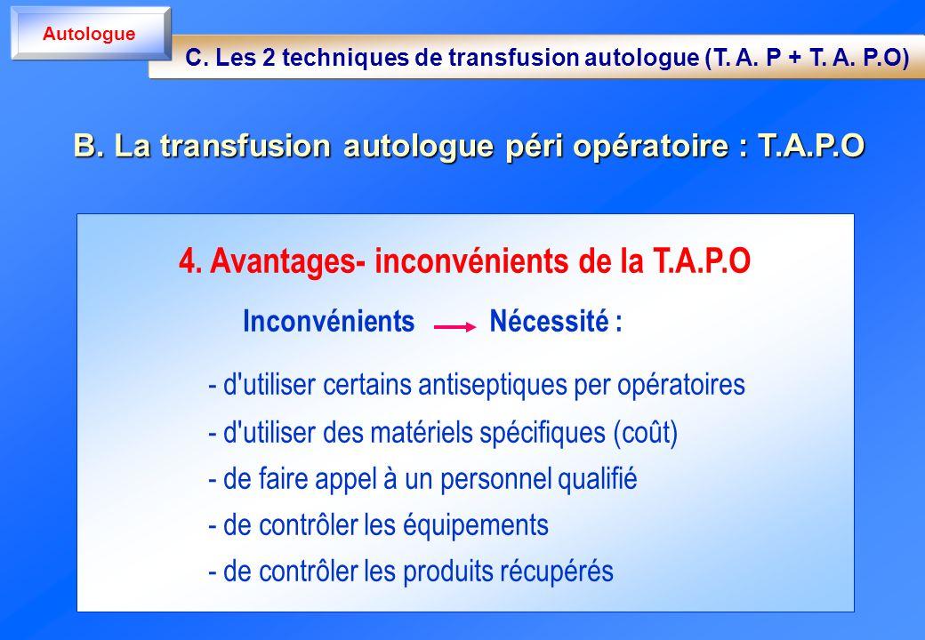 4. Avantages- inconvénients de la T.A.P.O Inconvénients Nécessité : - d'utiliser certains antiseptiques per opératoires - d'utiliser des matériels spé