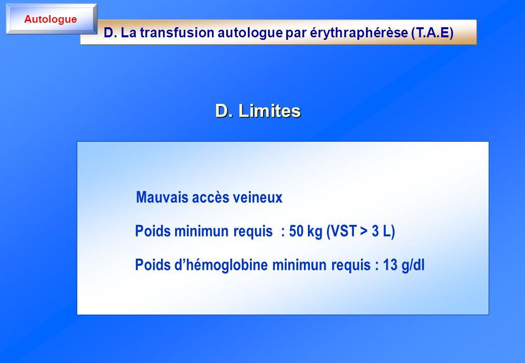 D. Limites Mauvais accès veineux Poids minimun requis : 50 kg (VST > 3 L) Poids dhémoglobine minimun requis : 13 g/dl D. La transfusion autologue par