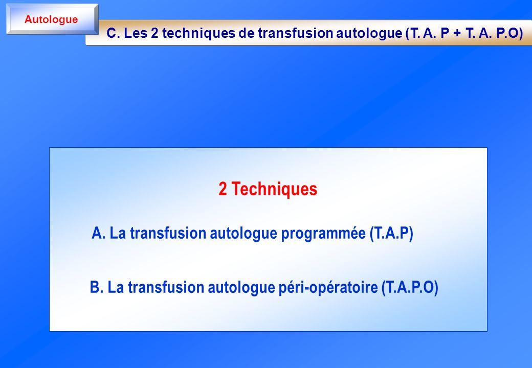 2 Techniques A. La transfusion autologue programmée (T.A.P) B. La transfusion autologue péri-opératoire (T.A.P.O) C. Les 2 techniques de transfusion a