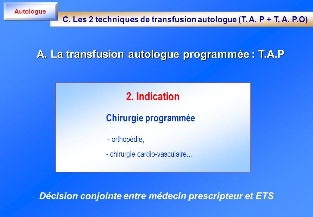 2. Indication Chirurgie programmée - orthopédie, - chirurgie cardio-vasculaire... A. La transfusion autologue programmée : T.A.P C. Les 2 techniques d