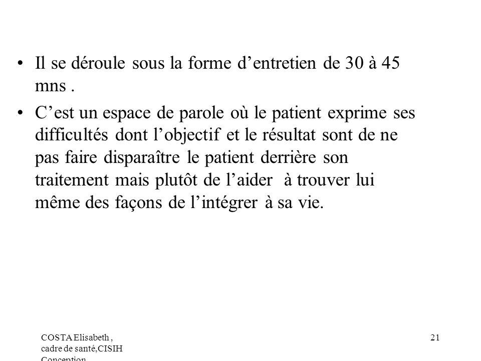 COSTA Elisabeth, cadre de santé,CISIH Conception 21 Il se déroule sous la forme dentretien de 30 à 45 mns. Cest un espace de parole où le patient expr