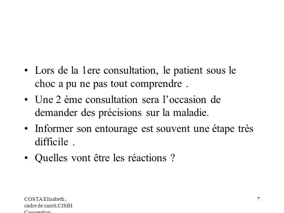 COSTA Elisabeth, cadre de santé,CISIH Conception 7 Lors de la 1ere consultation, le patient sous le choc a pu ne pas tout comprendre. Une 2 ème consul