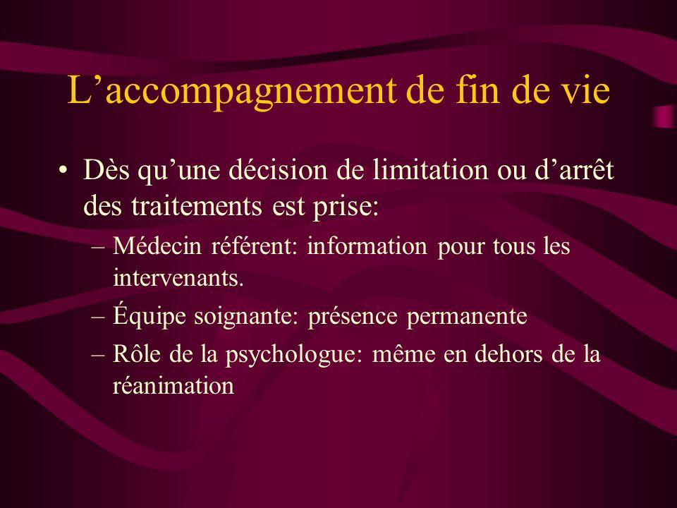 Laccompagnement de fin de vie Dès quune décision de limitation ou darrêt des traitements est prise: –Médecin référent: information pour tous les intervenants.