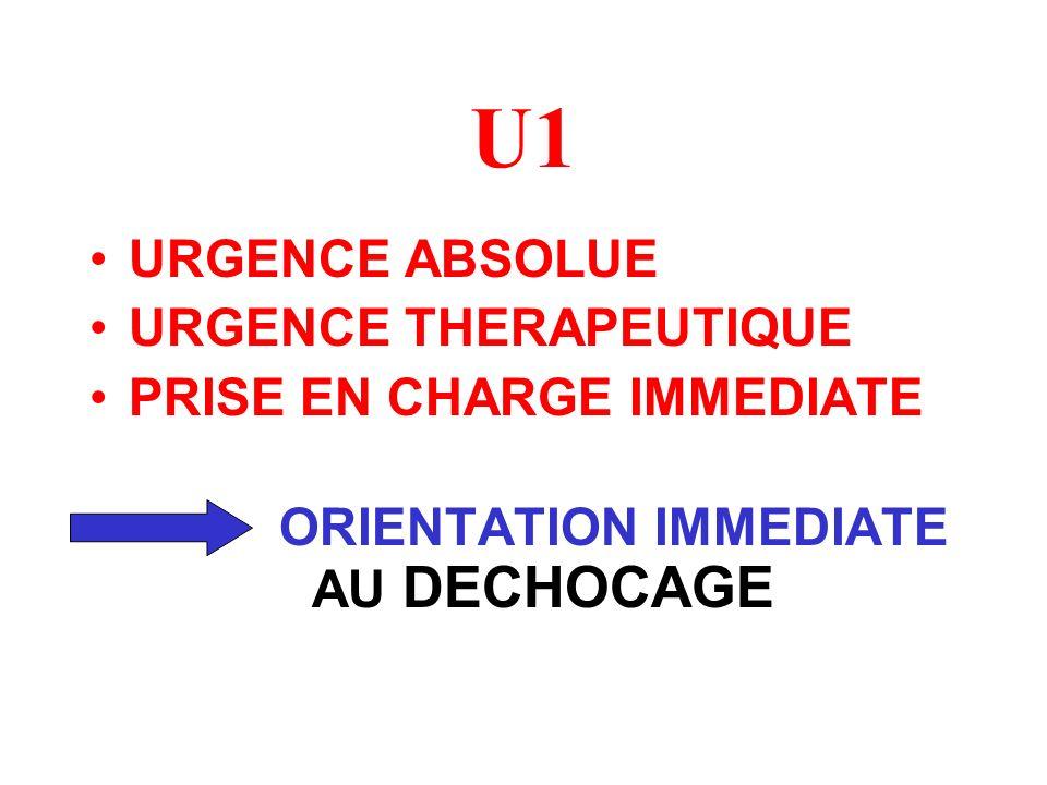 URGENCE ABSOLUE URGENCE THERAPEUTIQUE PRISE EN CHARGE IMMEDIATE ORIENTATION IMMEDIATE AU DECHOCAGE U1