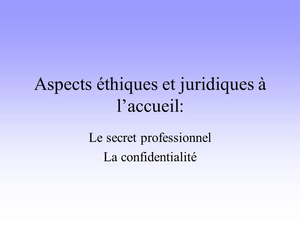 Aspects éthiques et juridiques à laccueil: Le secret professionnel La confidentialité