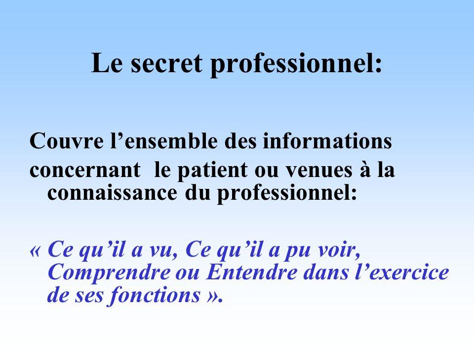 Le secret professionnel: Couvre lensemble des informations concernant le patient ou venues à la connaissance du professionnel: « Ce quil a vu, Ce quil
