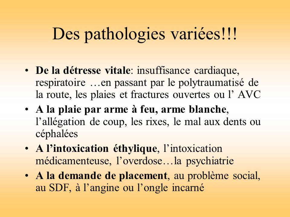 Des pathologies variées!!! De la détresse vitale: insuffisance cardiaque, respiratoire …en passant par le polytraumatisé de la route, les plaies et fr