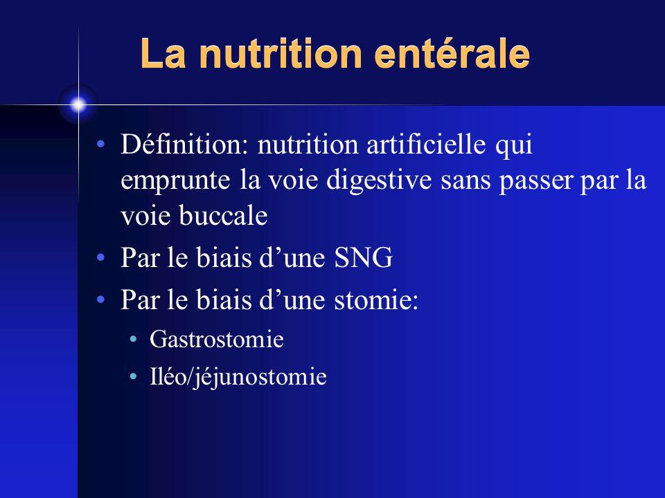 La nutrition entérale Définition: nutrition artificielle qui emprunte la voie digestive sans passer par la voie buccale Par le biais dune SNG Par le b