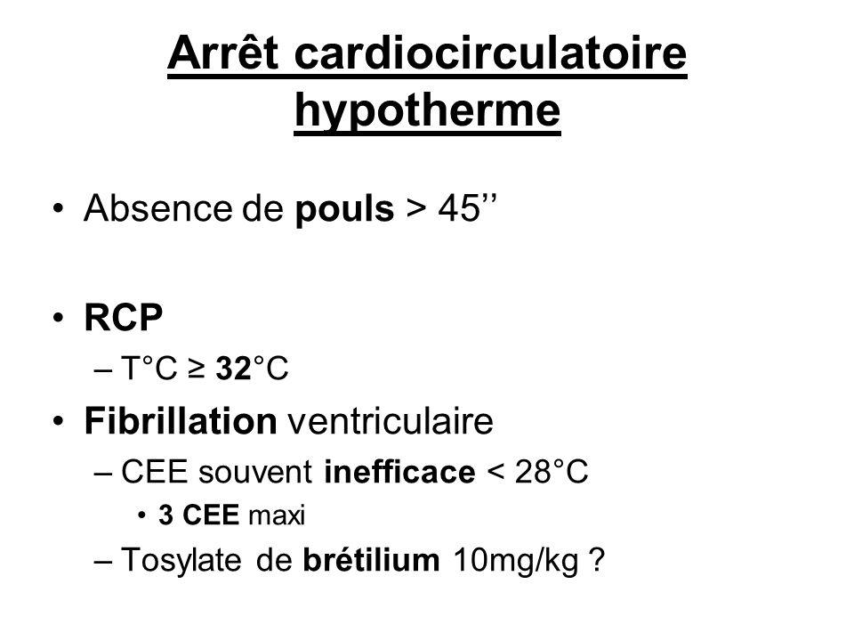 Arrêt cardiocirculatoire hypotherme Absence de pouls > 45 RCP –T°C 32°C Fibrillation ventriculaire –CEE souvent inefficace < 28°C 3 CEE maxi –Tosylate
