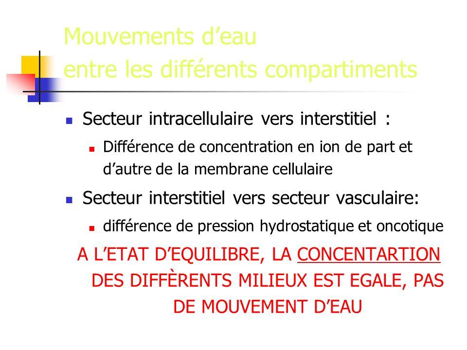Mouvements deau entre les différents compartiments Secteur intracellulaire vers interstitiel : Différence de concentration en ion de part et dautre de