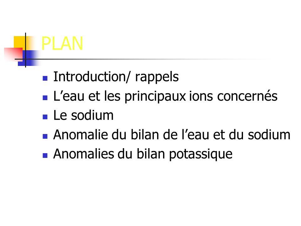 PLAN Introduction/ rappels Leau et les principaux ions concernés Le sodium Anomalie du bilan de leau et du sodium Anomalies du bilan potassique