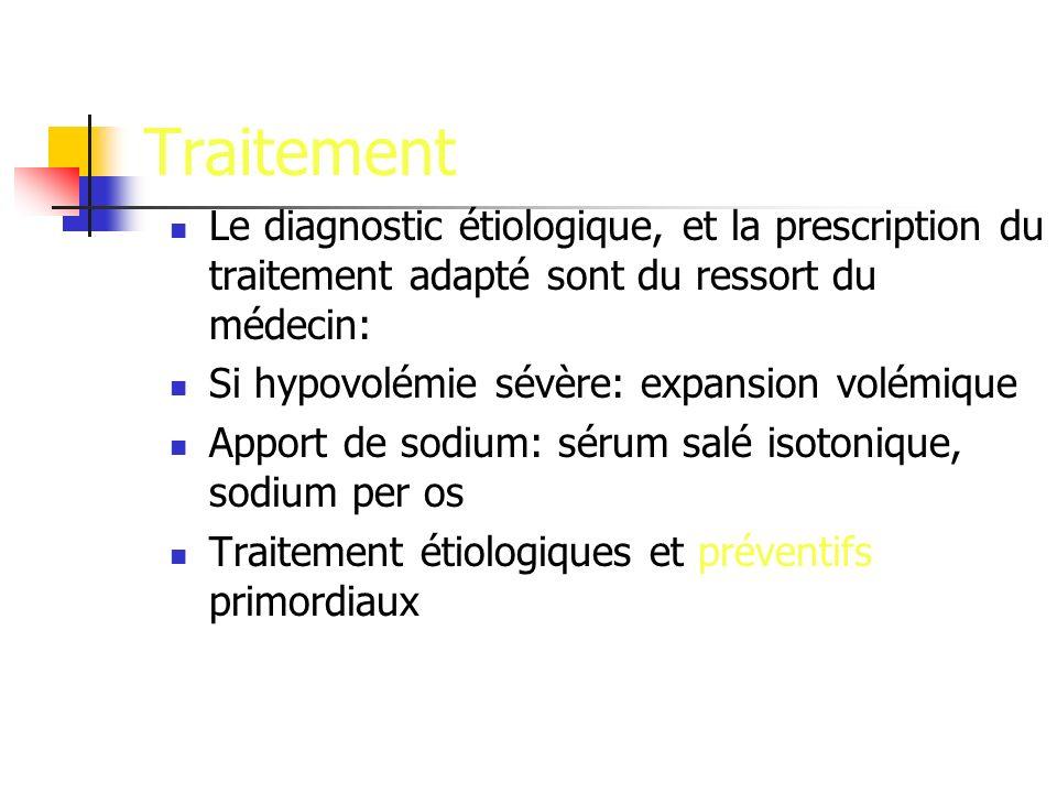 Traitement Le diagnostic étiologique, et la prescription du traitement adapté sont du ressort du médecin: Si hypovolémie sévère: expansion volémique A