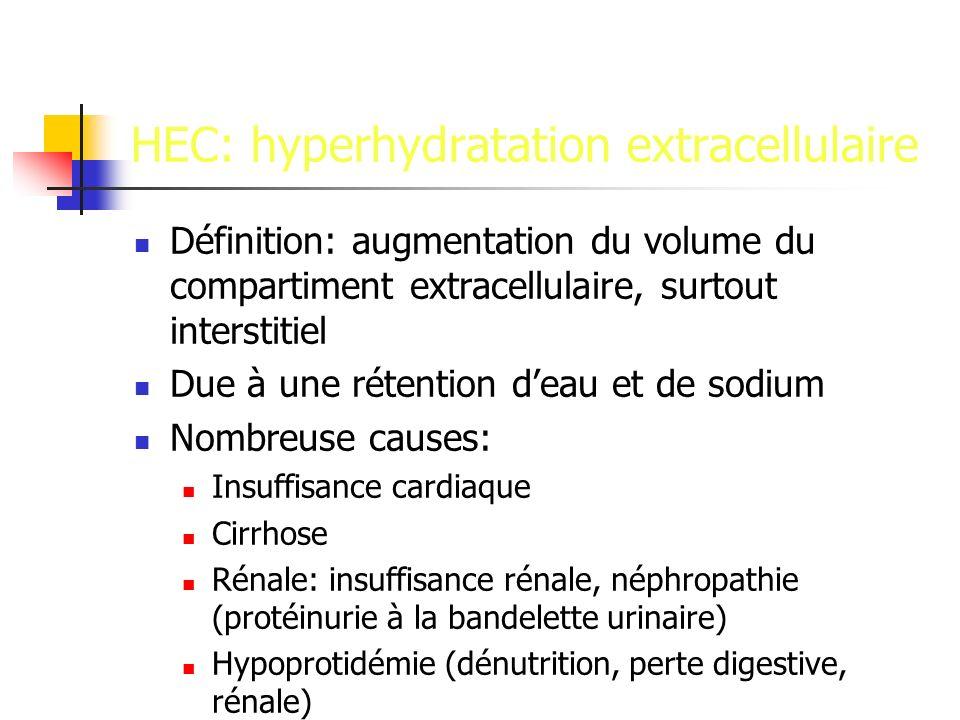 HEC: hyperhydratation extracellulaire Définition: augmentation du volume du compartiment extracellulaire, surtout interstitiel Due à une rétention deau et de sodium Nombreuse causes: Insuffisance cardiaque Cirrhose Rénale: insuffisance rénale, néphropathie (protéinurie à la bandelette urinaire) Hypoprotidémie (dénutrition, perte digestive, rénale)