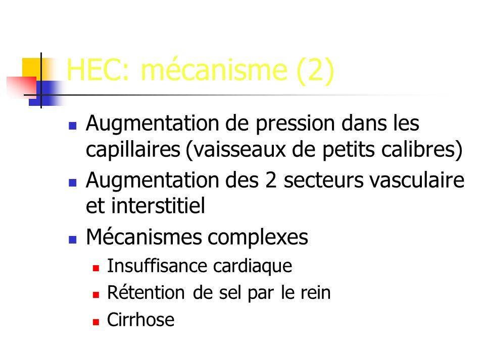 HEC: mécanisme (2) Augmentation de pression dans les capillaires (vaisseaux de petits calibres) Augmentation des 2 secteurs vasculaire et interstitiel Mécanismes complexes Insuffisance cardiaque Rétention de sel par le rein Cirrhose