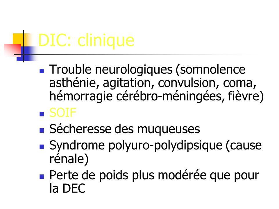 DIC: clinique Trouble neurologiques (somnolence asthénie, agitation, convulsion, coma, hémorragie cérébro-méningées, fièvre) SOIF Sécheresse des muqueuses Syndrome polyuro-polydipsique (cause rénale) Perte de poids plus modérée que pour la DEC