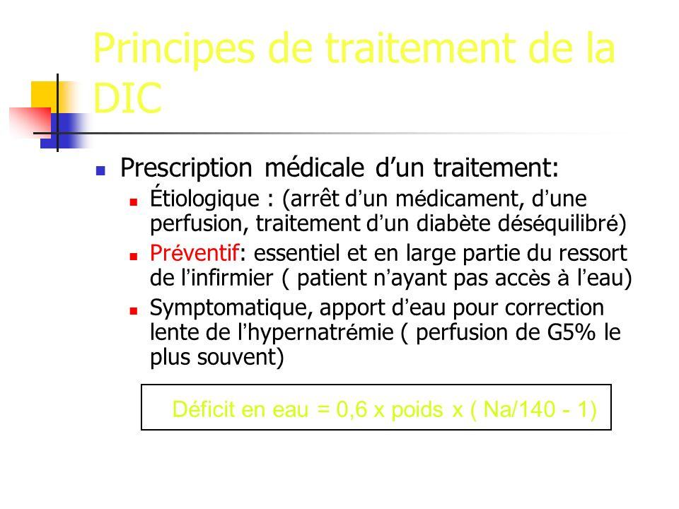 Principes de traitement de la DIC Prescription médicale dun traitement: Étiologique : (arrêt d un m é dicament, d une perfusion, traitement d un diab